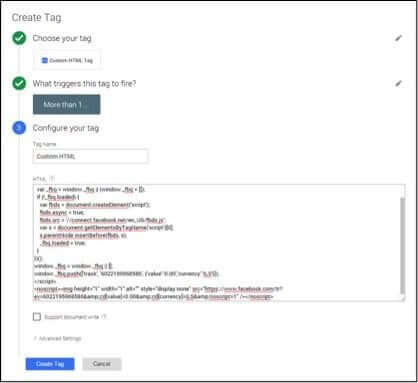 ליצור פיקסל המרה חדש במודעות פייסבוק ולשים את הקוד עם הטריגר החדש