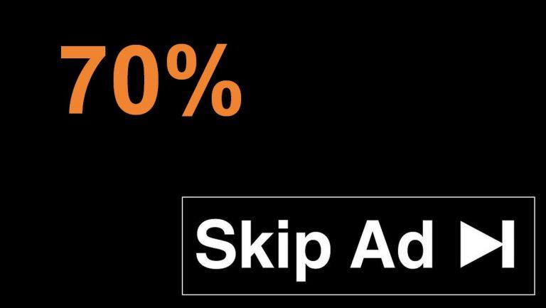 70% אחוז מהמשתמשים מדלגים על מודעות