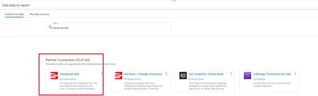 חיבור של פייסבוק אדס לdata studio