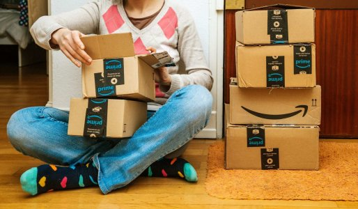 Paris, France - Jan 13, 2018: Stack Of Amazon Prime Packages Del